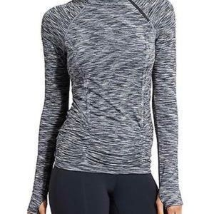 Athleta Fastest Track Grey Half Zip Space Dyed Top